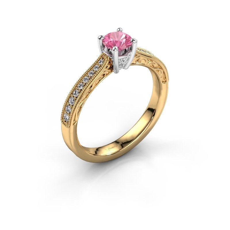 Belofte ring Shonta RND 585 goud roze saffier 4.7 mm