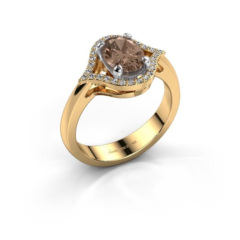 Ring Mendy 585 goud bruine diamant 1.29 crt