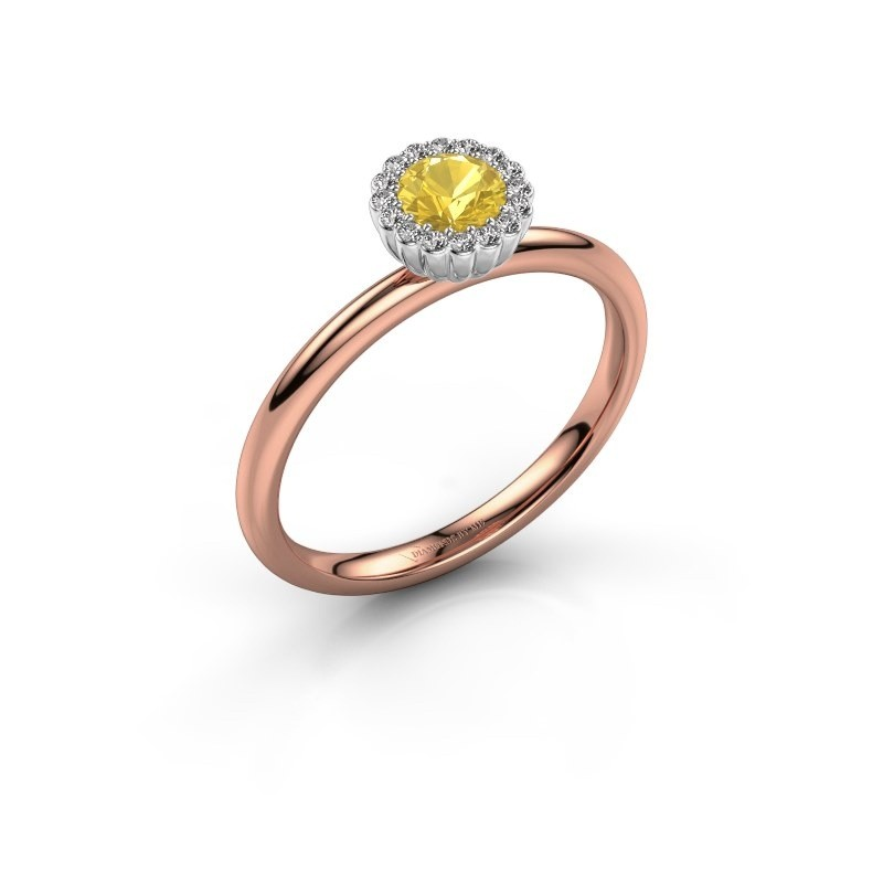 Engagement ring Queen 585 rose gold yellow sapphire 4.2 mm