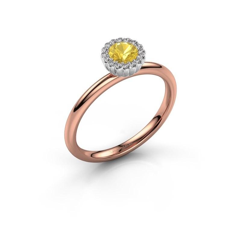 Verlovingsring Queen 585 rosé goud gele saffier 4.2 mm
