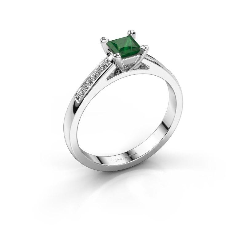 Engagement ring Nynke SQR 585 white gold emerald 4 mm