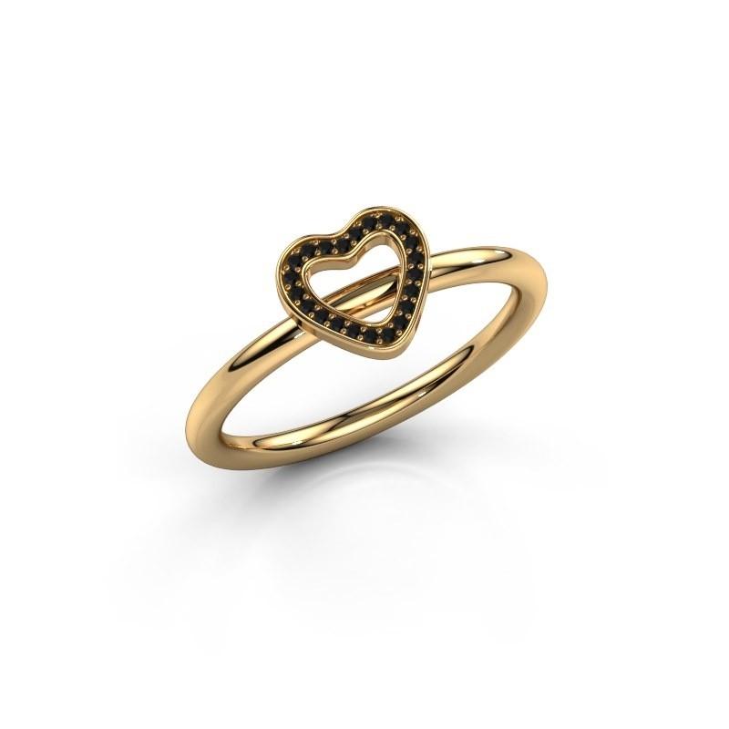 Ring Shape heart small 585 goud zwarte diamant 0.066 crt