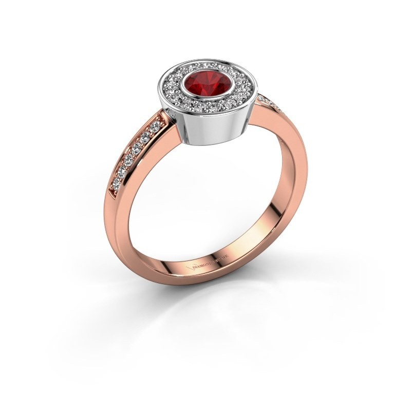 Ring Adriana 2 585 Roségold Rubin 4 mm