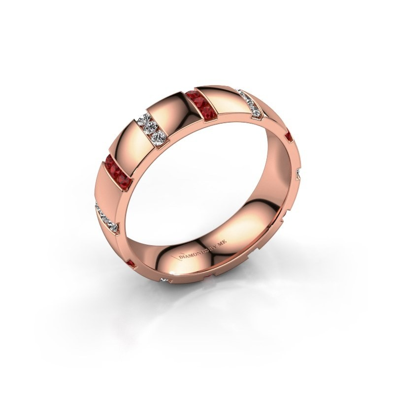Weddings ring Juul 375 rose gold ruby ±5x1.8 mm