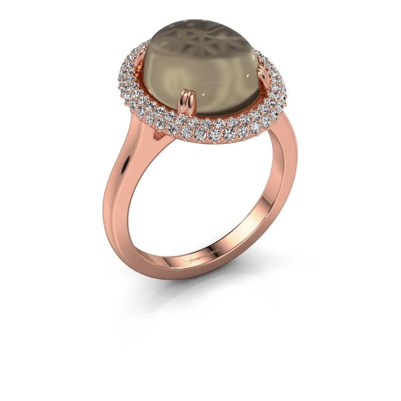 Ring Jayna 375 rosé goud rookkwarts 12x10 mm