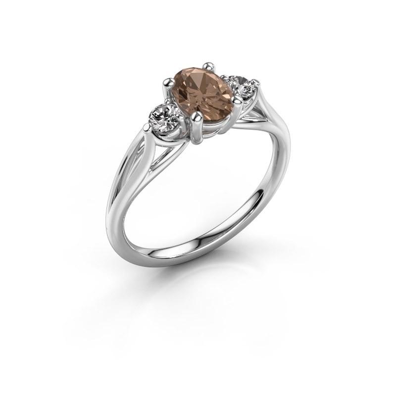 Verlovingsring Amie OVL 585 witgoud bruine diamant 1.00 crt