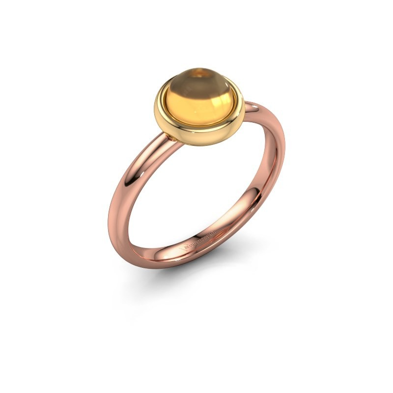 Ring Blossom 585 rosé goud citrien 6 mm