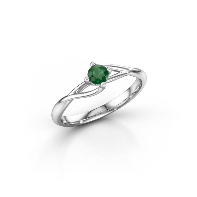 Verlovingsring Paulien 585 witgoud smaragd 3.7 mm