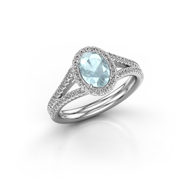 Engagement ring Rachele 2 585 white gold aquamarine 7x5 mm