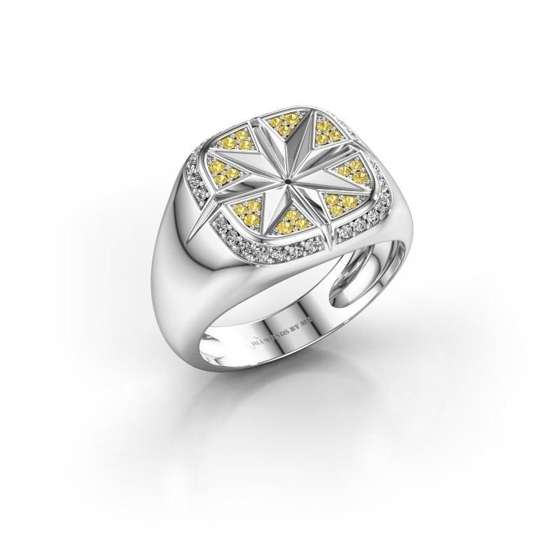 Heren ring Ravi 375 witgoud gele saffier 1 mm