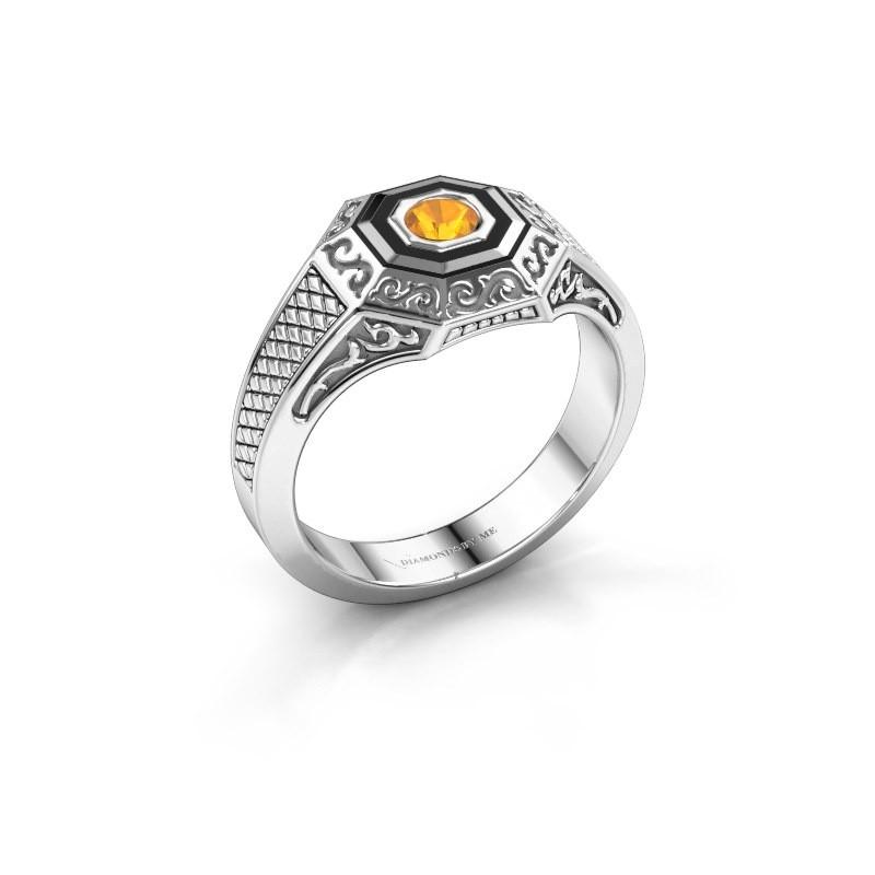 Men's ring Dion 375 white gold citrin 4 mm