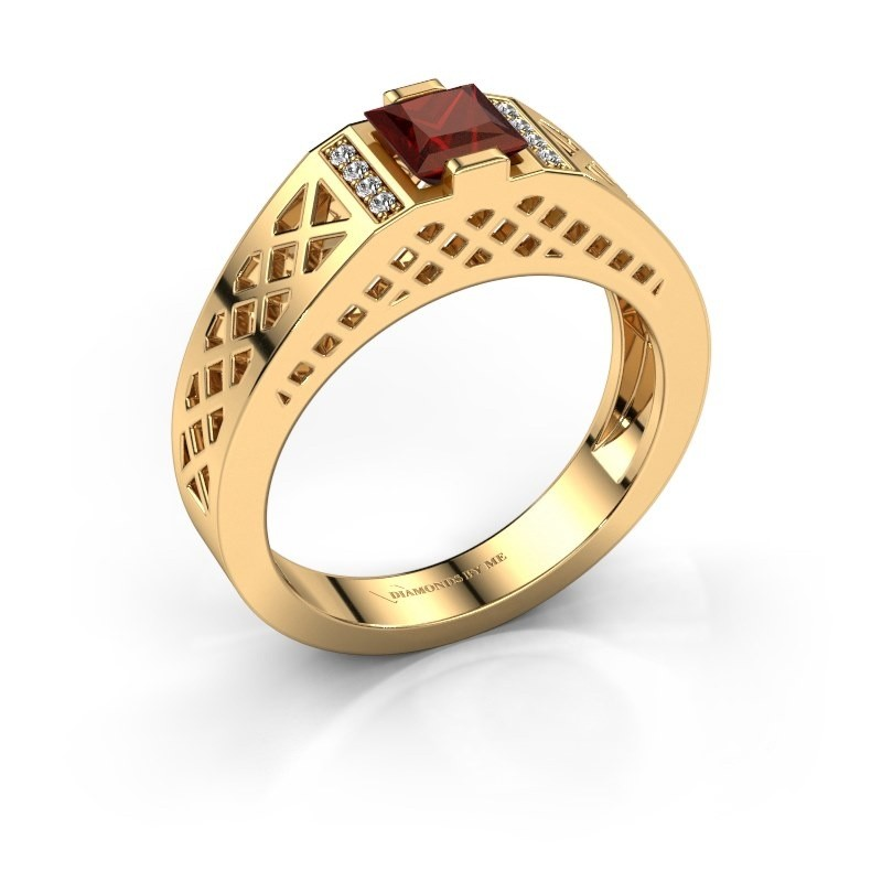 Heren ring Jonathan 585 goud granaat 5 mm