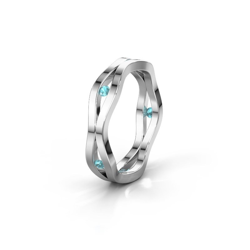 Trouwring WH2122L 585 witgoud blauw topaas ±5x1.8 mm