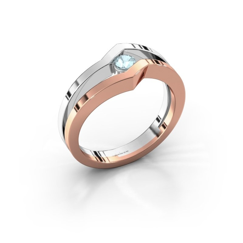 Ring Elize 585 rosé goud aquamarijn 3.4 mm