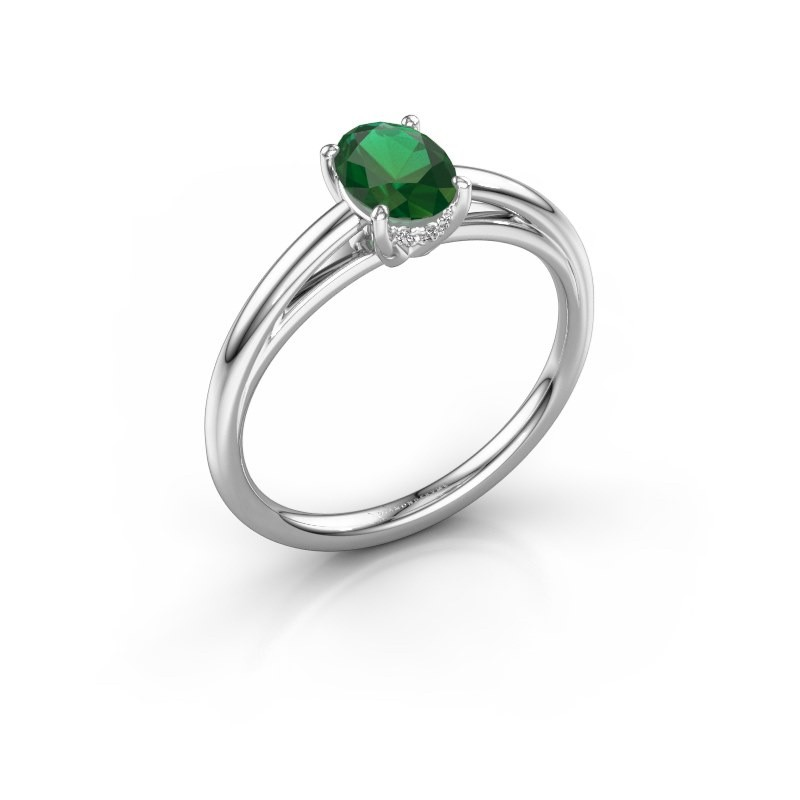 Verlovingsring Haley OVL 1 585 witgoud smaragd 7x5 mm