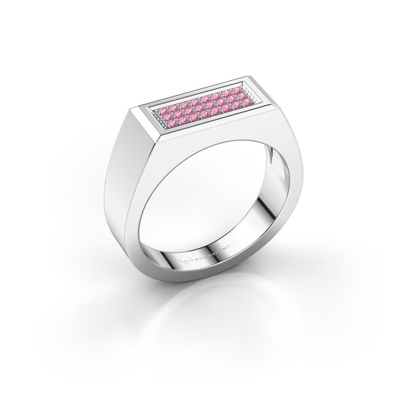Men's ring Dree 6 585 white gold pink sapphire 1.1 mm