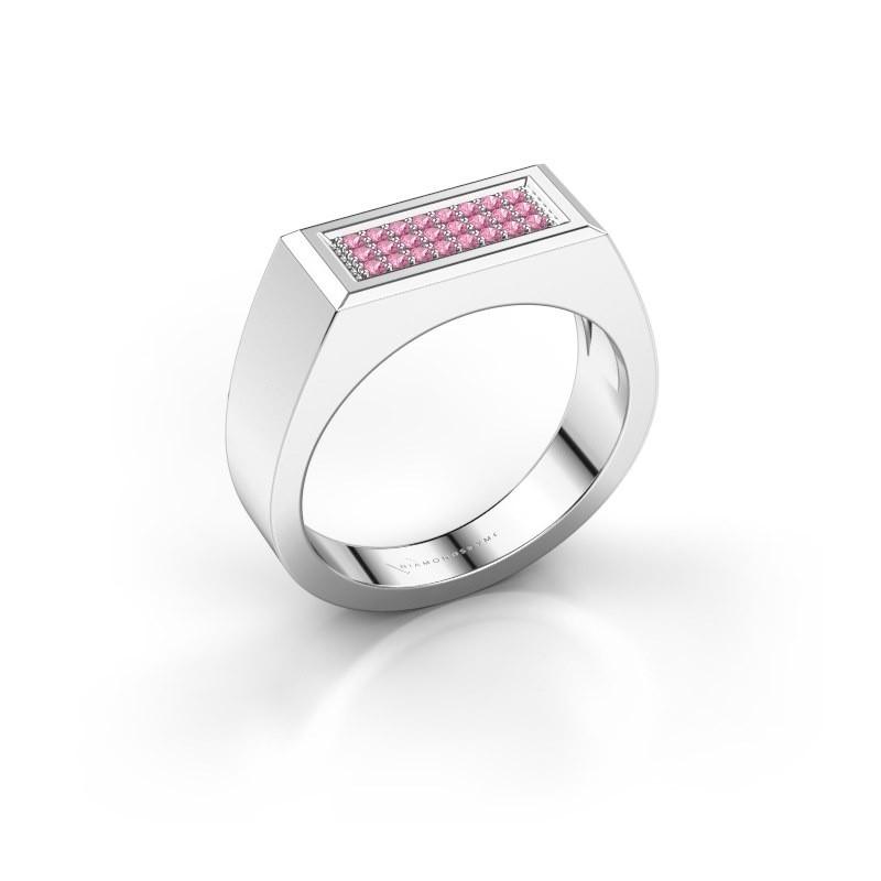 Herrenring Dree 6 585 Weißgold Pink Saphir 1.1 mm