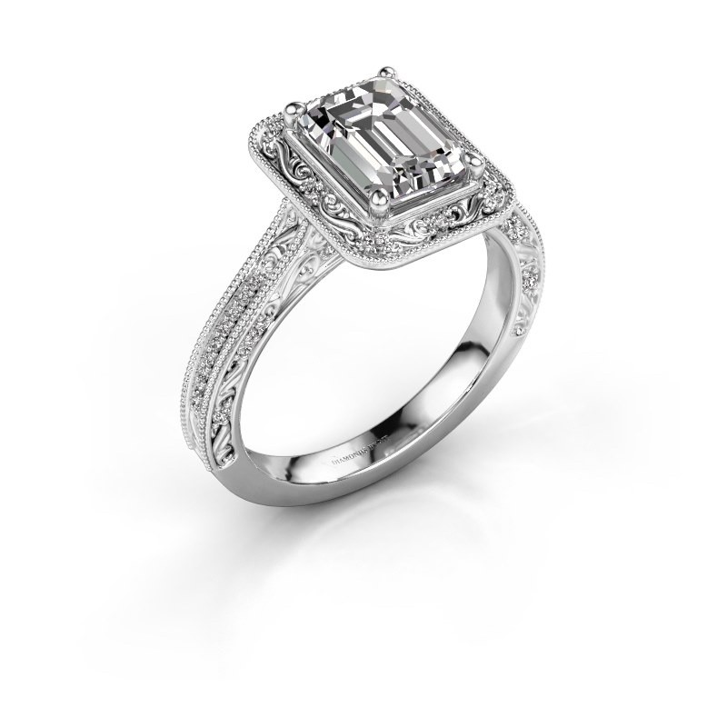 Verlovings ring Alice EME 585 witgoud zirkonia 7x5 mm