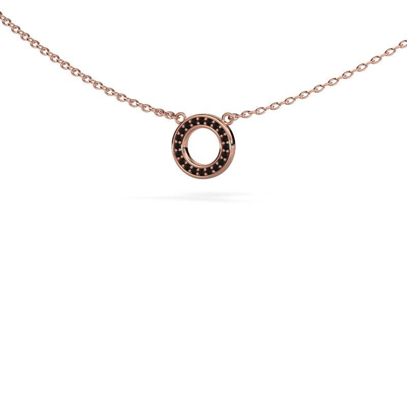Hanger Round 2 375 rosé goud zwarte diamant 0.06 crt