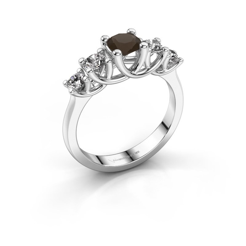 Engagement ring Jet 925 silver smokey quartz 5 mm