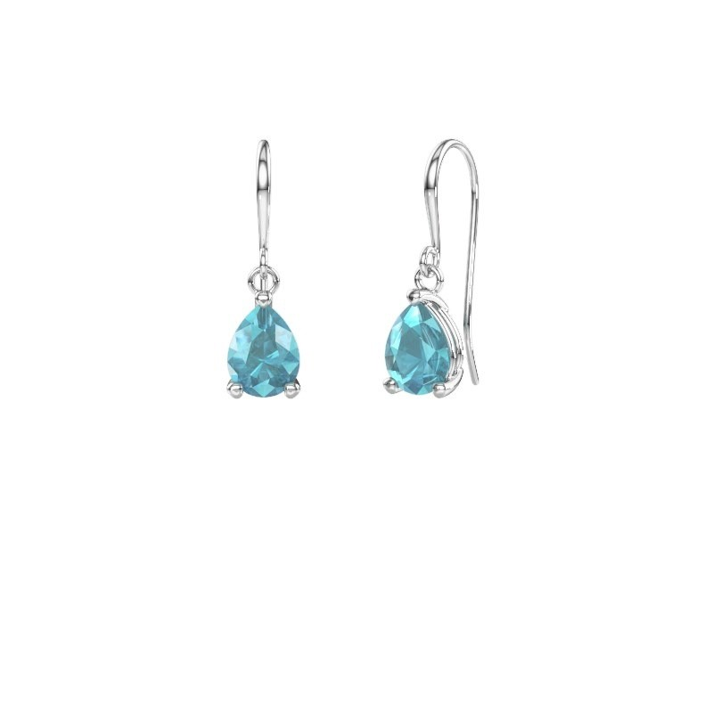 Drop earrings Laurie 1 375 white gold blue topaz 8x6 mm