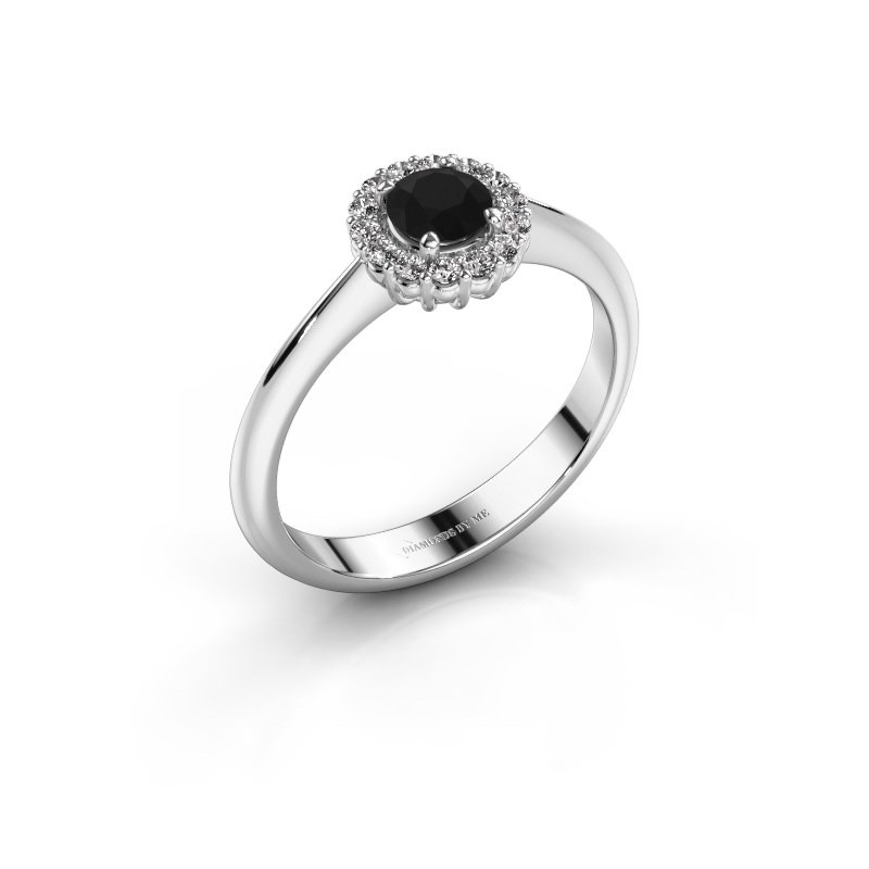 Verlovingsring Anca 585 witgoud zwarte diamant 0.36 crt