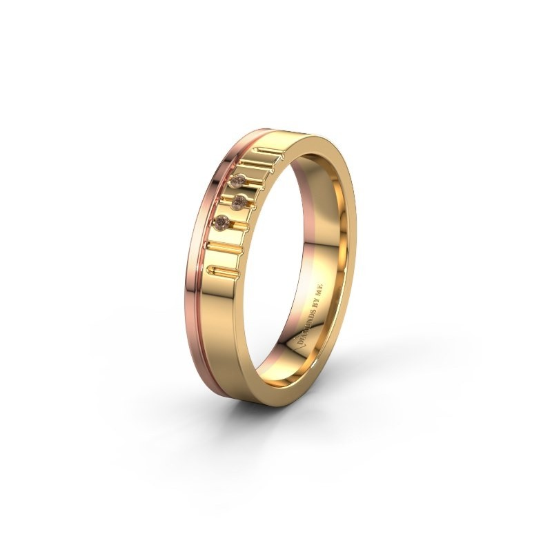 Vriendschapsring WH0332L14X 585 goud bruine diamant ±4x1.5 mm