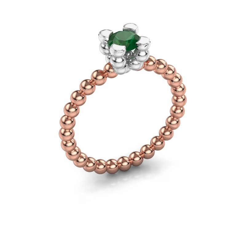 Ring Aurore 585 rosé goud smaragd 5 mm