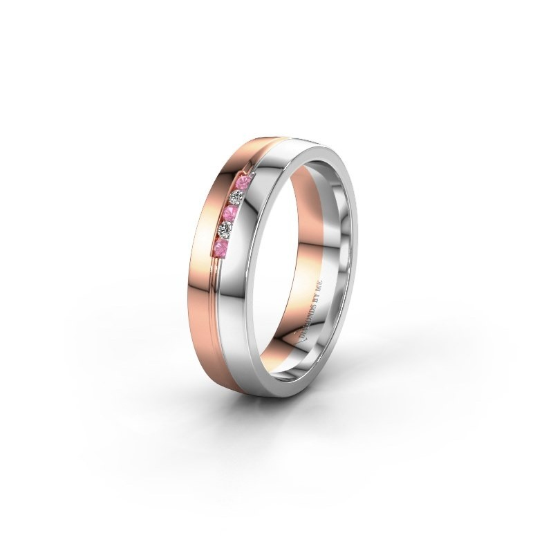 Wedding ring WH0132L25B 585 rose gold pink sapphire ±5x2 mm