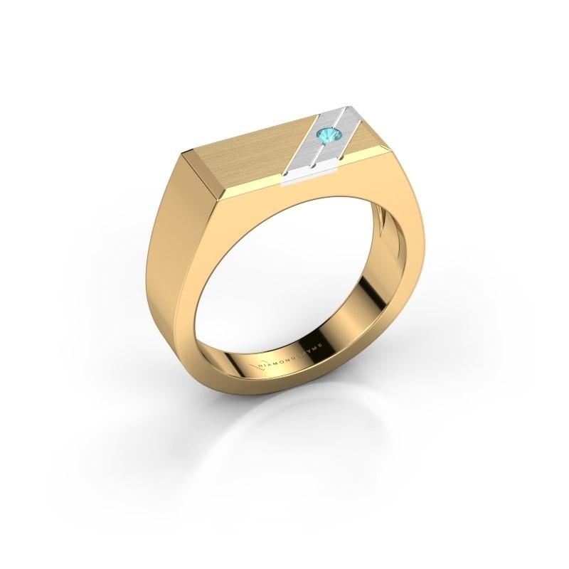 Men's ring Dree 5 585 gold blue topaz 2.4 mm