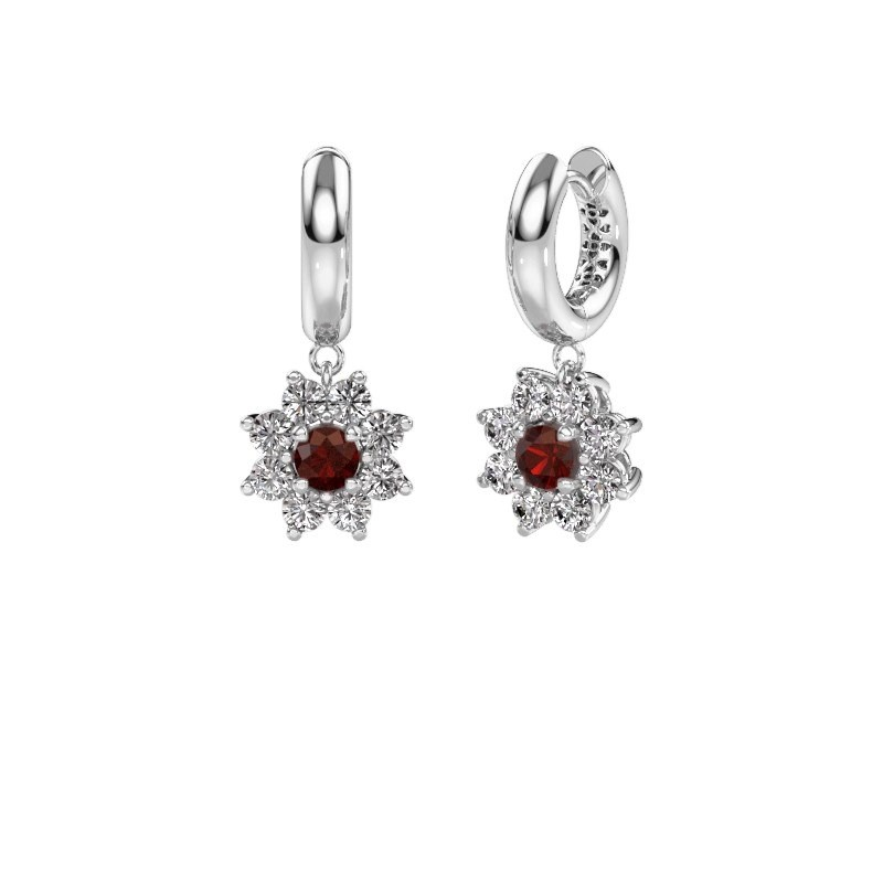 Drop earrings Geneva 1 585 white gold garnet 4.5 mm