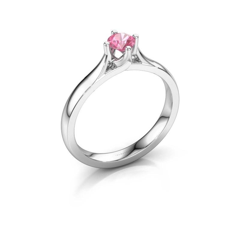 Verlovingsring Eva 585 witgoud roze saffier 4.2 mm