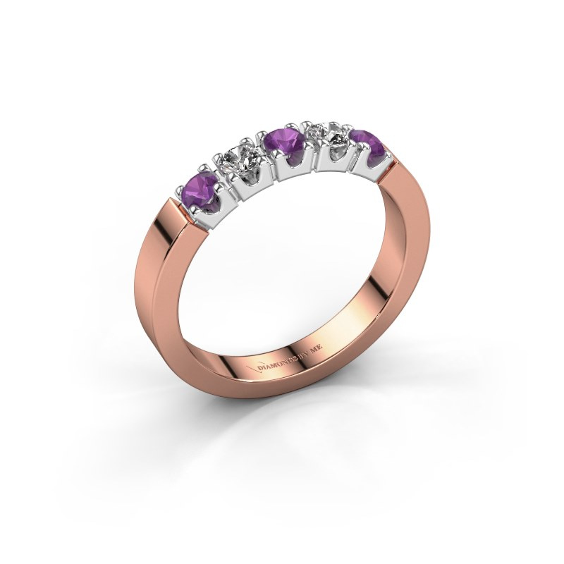 Engagement ring Dana 5 585 rose gold amethyst 3 mm