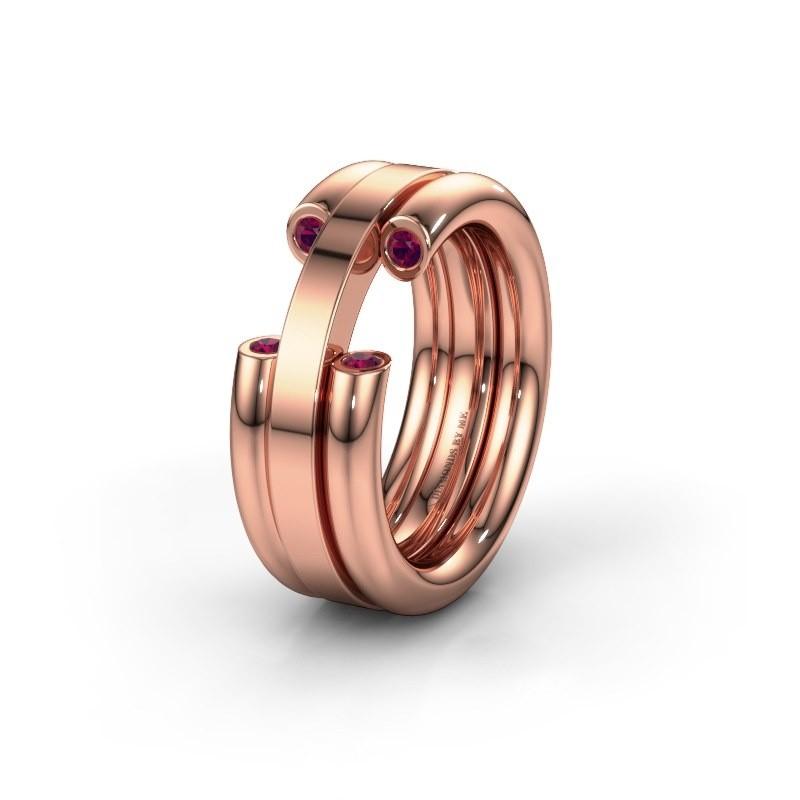 Wedding ring WH6018L 585 rose gold rhodolite ±8x3 mm