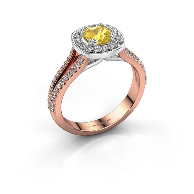 Engagement ring Carolina 2 585 rose gold yellow sapphire 5 mm