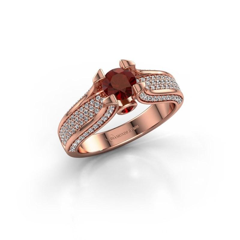 Verlovingsring Jeanne 2 375 rosé goud granaat 5 mm