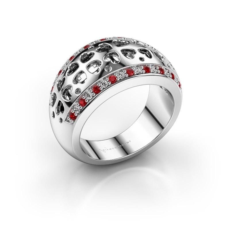 Ring Tirza 585 witgoud robijn 1.3 mm