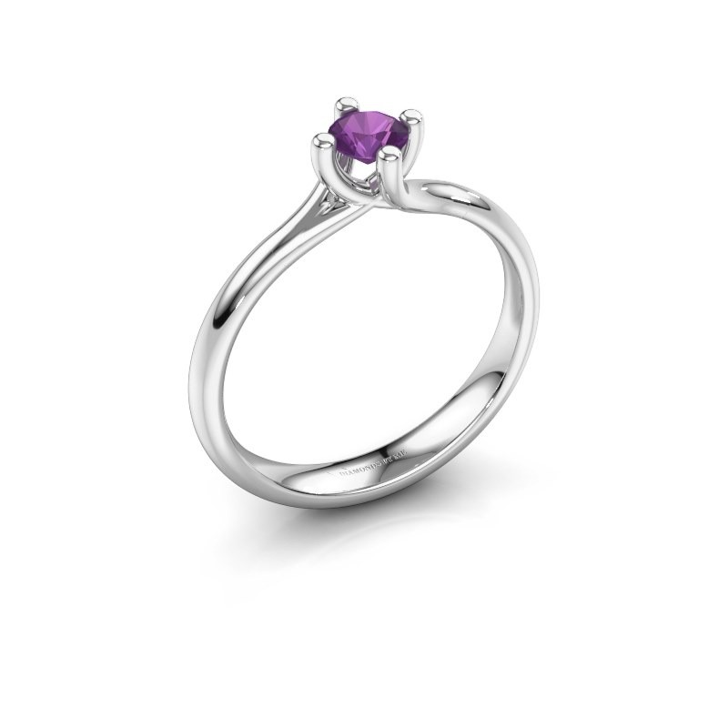 Engagement ring Dewi Round 925 silver amethyst 4 mm