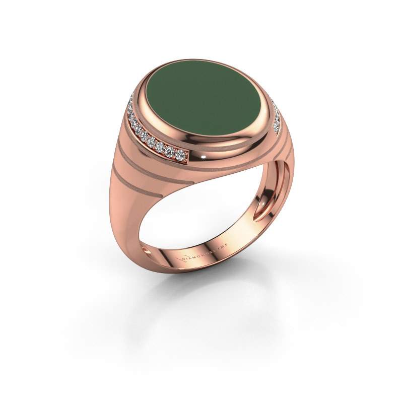 Zegelring Luuk 375 rosé goud groene emaille 15x12 mm