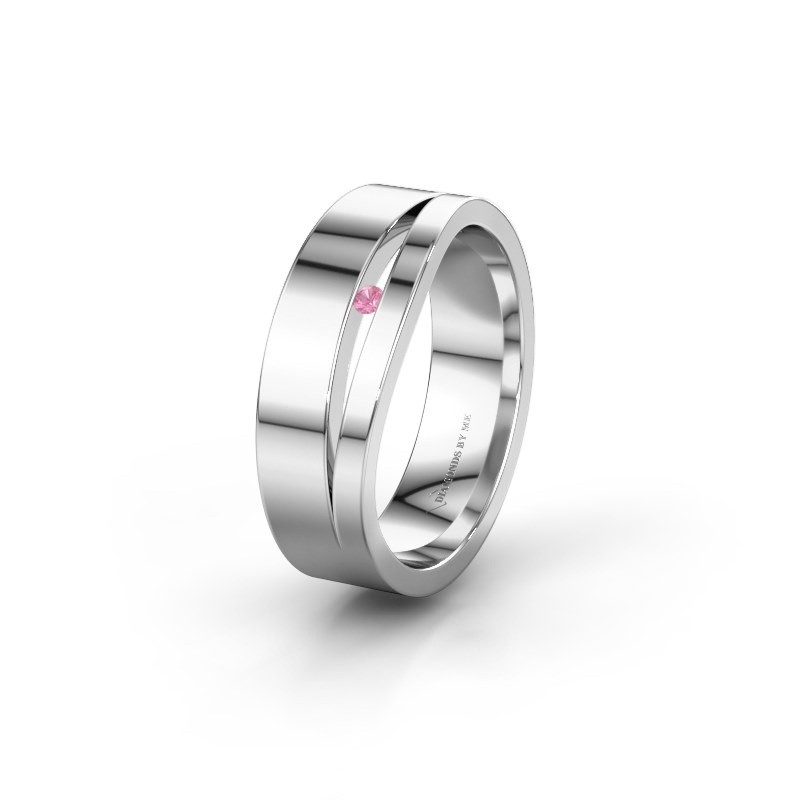 Wedding ring WH6000L16AP 925 silver pink sapphire ±6x1.7 mm