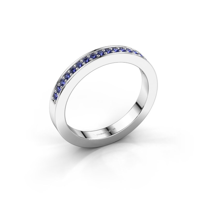 Stackable ring Loes 4 585 white gold sapphire 1.3 mm
