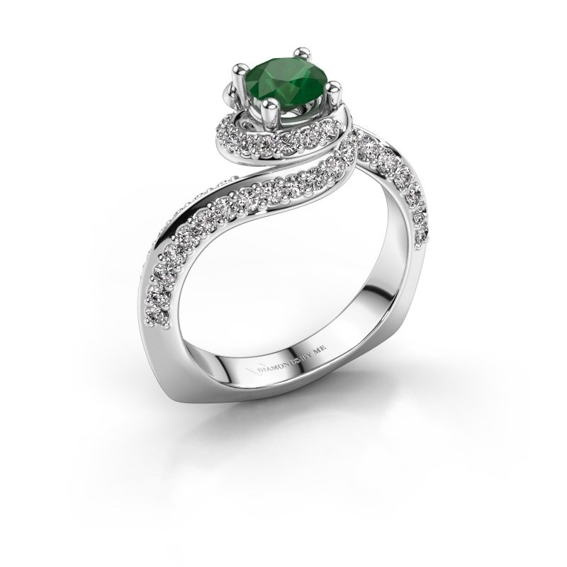Verlovingsring Sienna 585 witgoud smaragd 5 mm