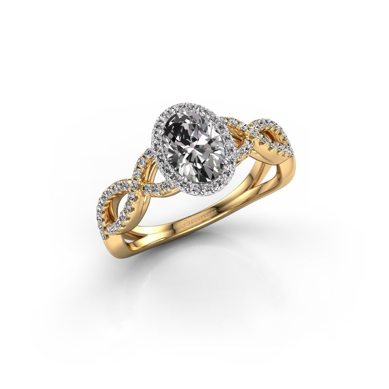 Engagement ring Dionne ovl 585 gold zirconia 7x5 mm