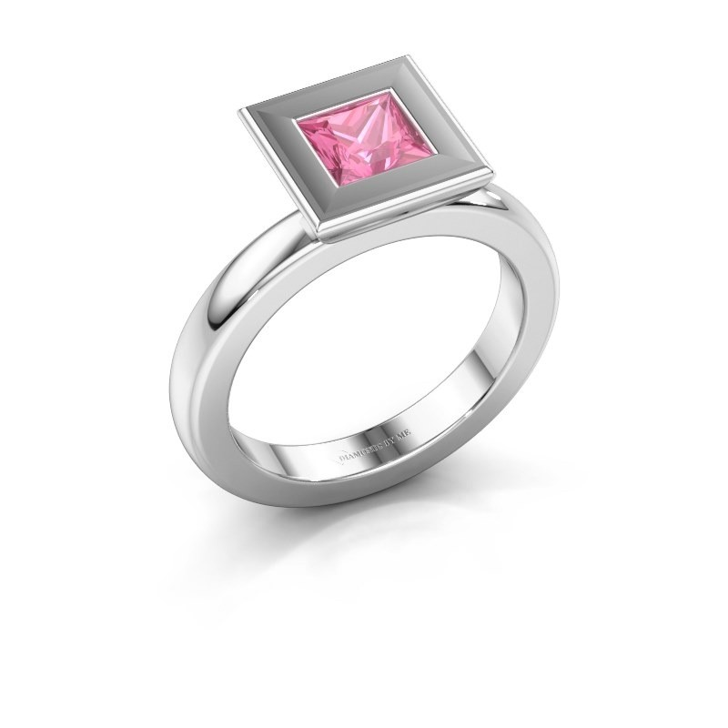 Stapelring Eloise Square 950 platina roze saffier 5 mm