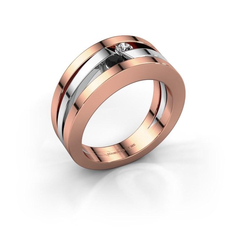 Ring Valerie 585 rosé goud zwarte diamant 0.176 crt