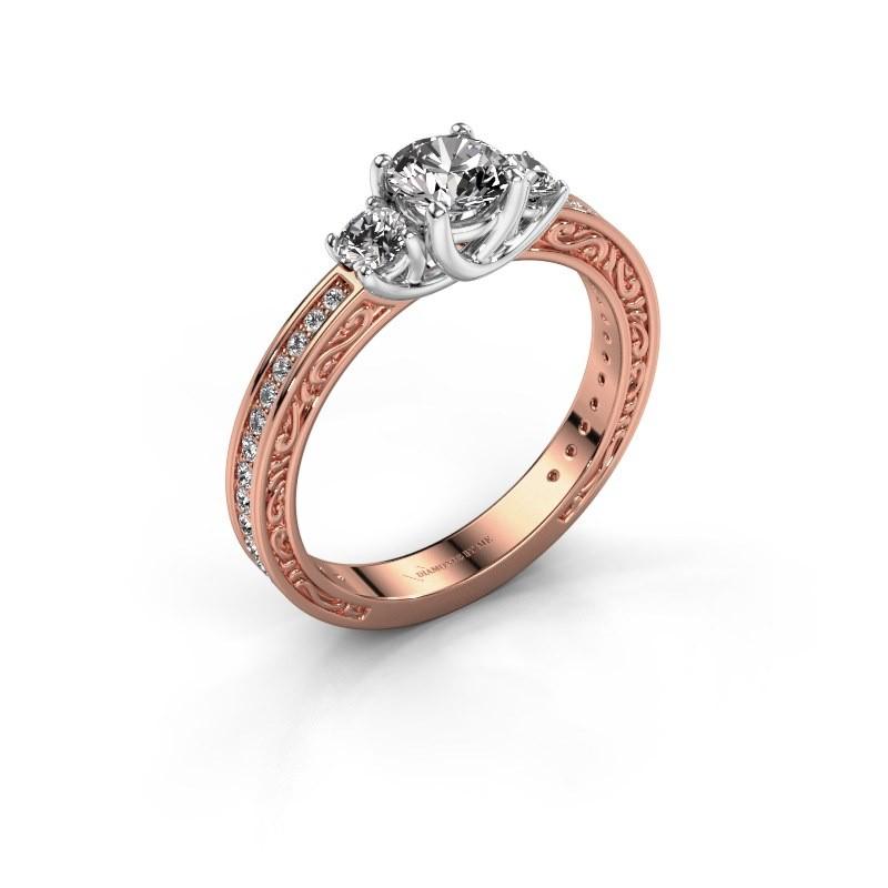 Verlovingsring Betty 2 585 rosé goud diamant 0.957 crt
