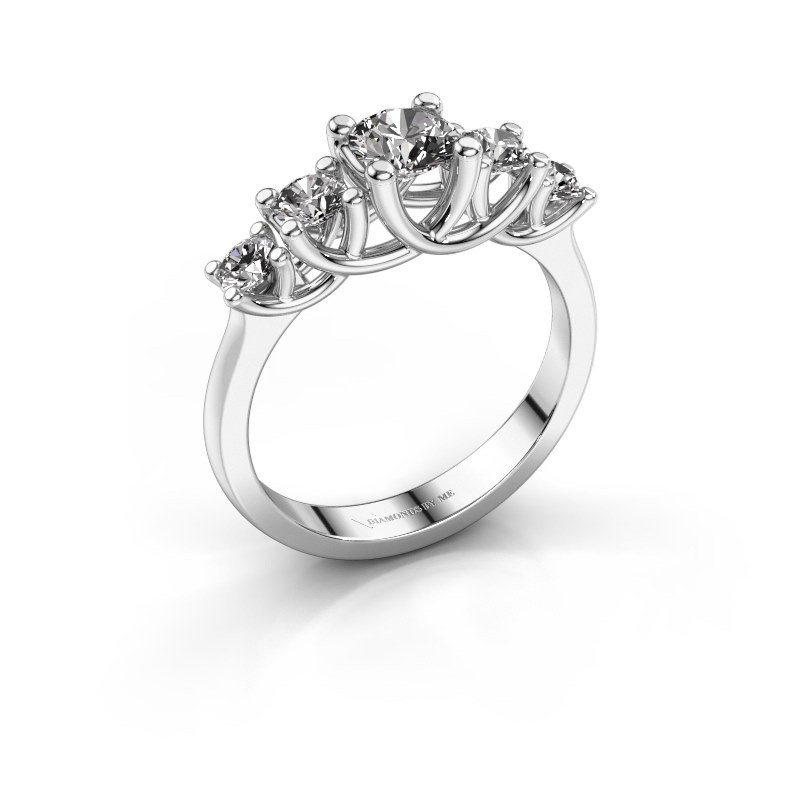 Engagement ring Jet 925 silver diamond 1.00 crt