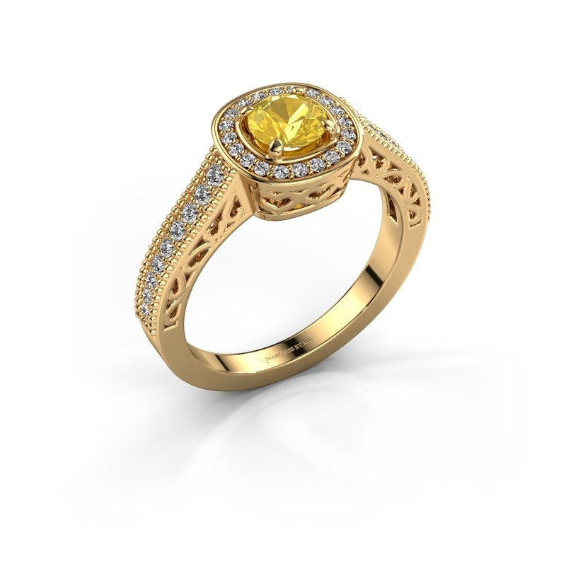 Verlovings ring Candi 375 goud gele saffier 5 mm