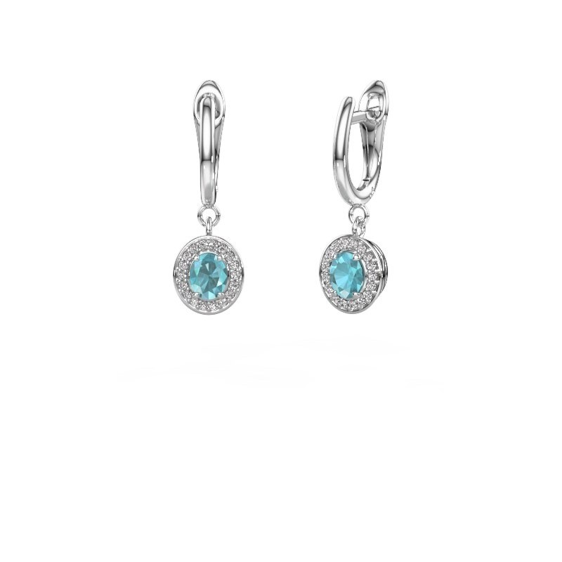 Drop earrings Nakita 950 platinum blue topaz 5x4 mm