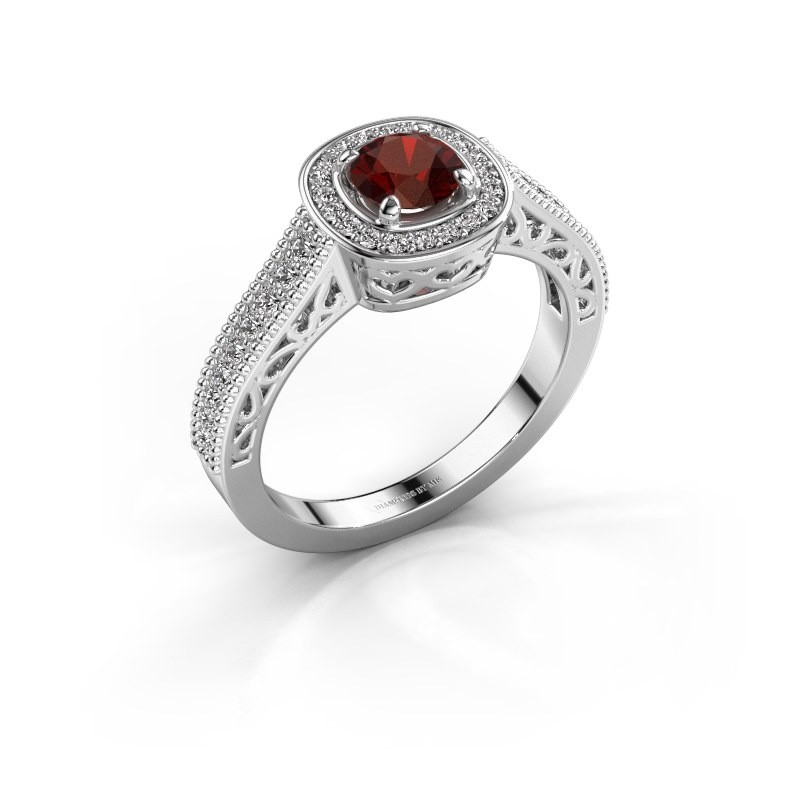 Verlovings ring Candi 585 witgoud granaat 5 mm